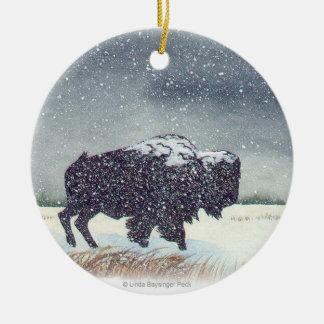 Snowdusted Bison Round Ceramic Decoration