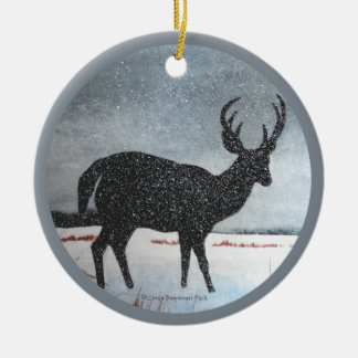Snowdusted Deer Round Ceramic Decoration