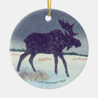 Snowdusted Moose Round Ceramic Decoration