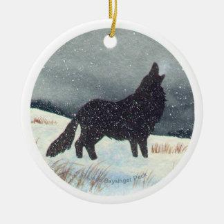 Snowdusted Wolf Round Ceramic Decoration