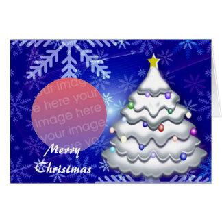 Snowed Christmas Tree Photo Frame Card