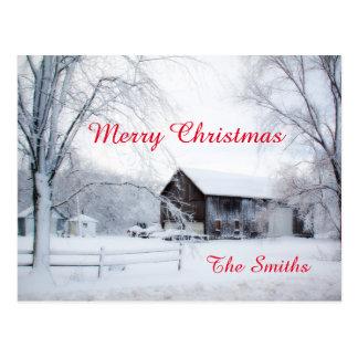 Snowed in Christmas Barn Postcard