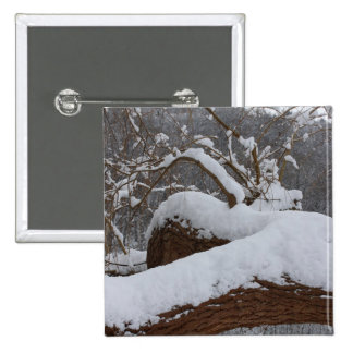 snowed tree branch 15 cm square badge