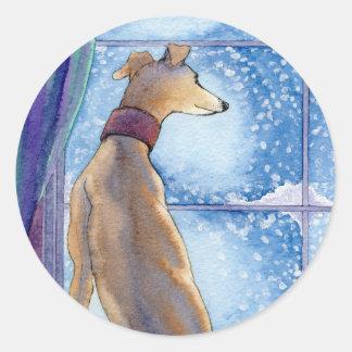 Snowfall Classic Round Sticker