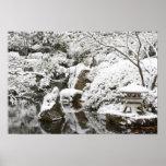 Snowfall in Portland Japanese Garden, 2 Poster