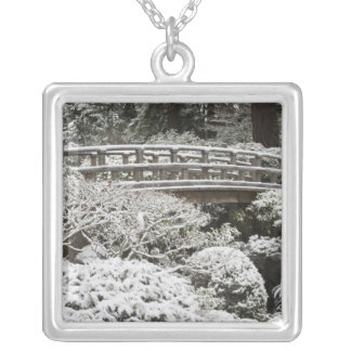 Snowfall in Portland Japanese Garden, Silver Plated Necklace