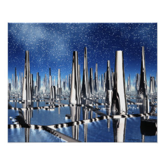 Snowfall in Zebra City Alien Cityscape Poster