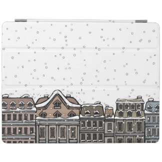 Snowfall over a city iPad cover