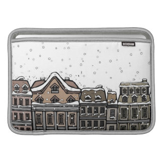 Snowfall over a city sleeve for MacBook air