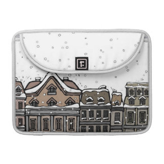 Snowfall over a city sleeve for MacBooks