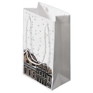 Snowfall over a city small gift bag