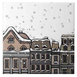 Snowfall over a city tile