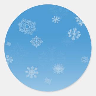 Snowfall Round Stickers