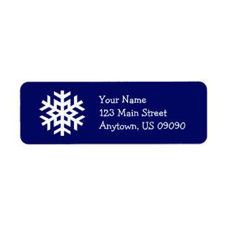 Snowflake Address Label B (Navy Blue)