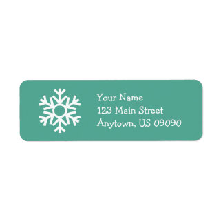 Snowflake Address Label C (Teal)