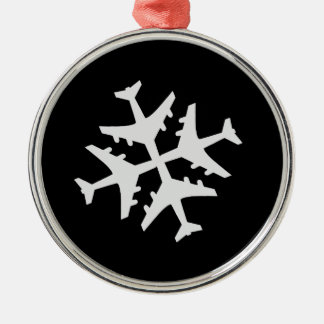 Snowflake Airplane Silver-Colored Round Decoration