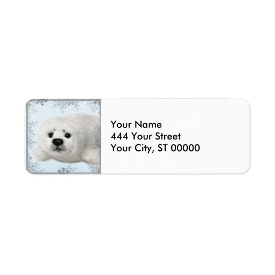 snowflake baby seal return address label
