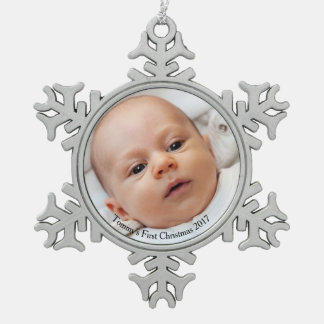 Snowflake Baby's First Christmas Photo Ornament