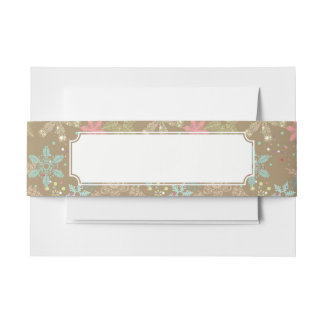 Snowflake Background Invitation Belly Band