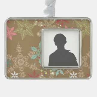Snowflake Background Silver Plated Framed Ornament