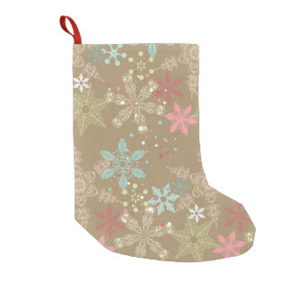 Snowflake Background Small Christmas Stocking