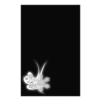 Snowflake Birdie Christmas Design - B W Infrared Personalized Stationery