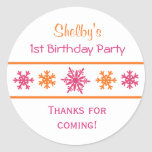 Snowflake Birthday Party Favour Stickers