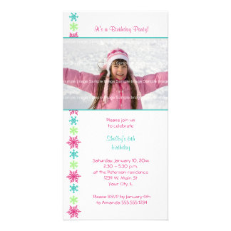 Snowflake Birthday Photocard Invitation Customized Photo Card