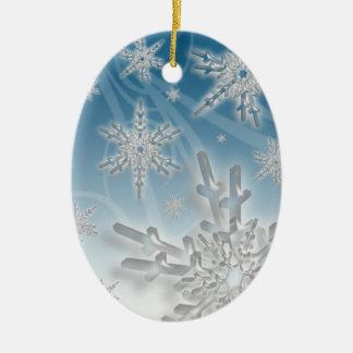 Snowflake Blue Background Holiday Decoration