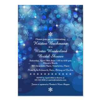 Snowflake Blue Bokeh Winter Bridal Shower 13 Cm X 18 Cm Invitation Card