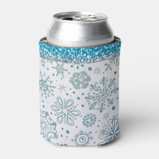 Snowflake Blue Glitter Pattern Can Cooler