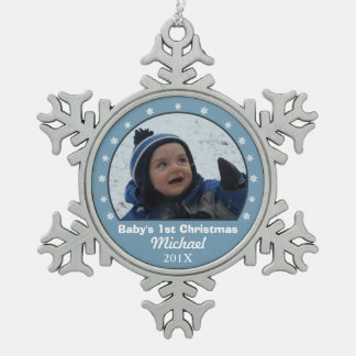 Snowflake Blue Photo Ornament