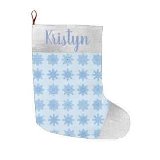 Snowflake Blue Silver Name Christmas Stocking