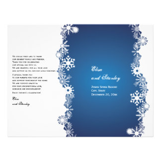 Snowflake blue white wedding folded program 21.5 cm x 28 cm flyer