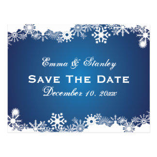 Snowflake blue white winter wedding Save the Date Postcard