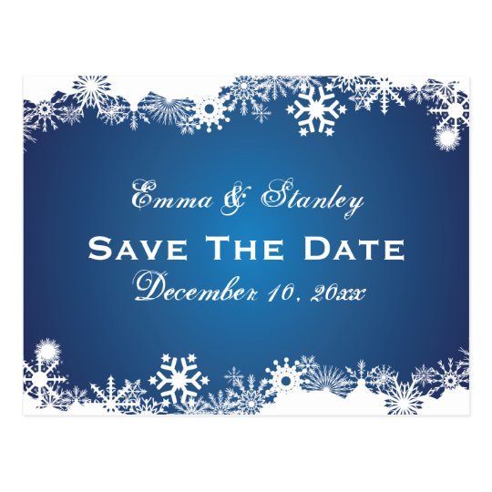 Snowflake blue white winter wedding Save the Date