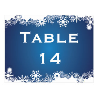 Snowflake blue white winter wedding table number postcards