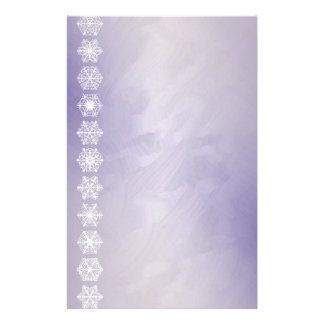 Snowflake Border Purple Foil Holiday Stationery