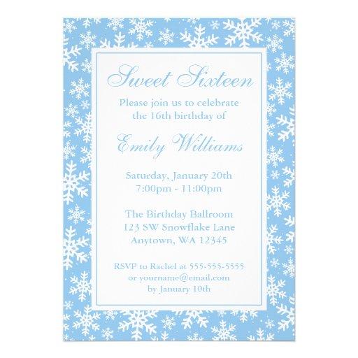 Snowflake Border Winter Wonderland Sweet 16 Blue Personalised Invites