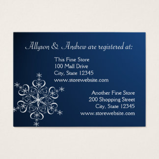 Snowflake Bridal Registry Card Dark Blue