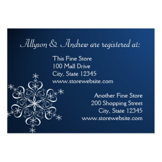 Snowflake Bridal Registry Card Dark Blue Pack Of Chubby Business Cards