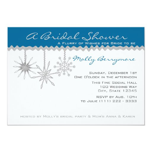 Snowflake Bridal Shower 13 Cm X 18 Cm Invitation Card