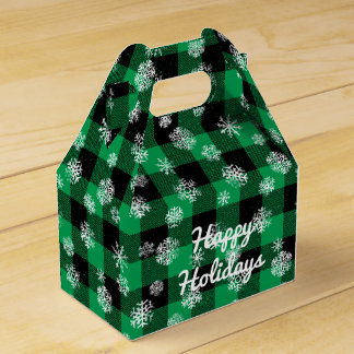 Snowflake Buffalo Plaid Green l Happy Holidays Favour Box