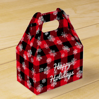 Snowflake Buffalo Plaid Red l Happy Holidays Favour Box