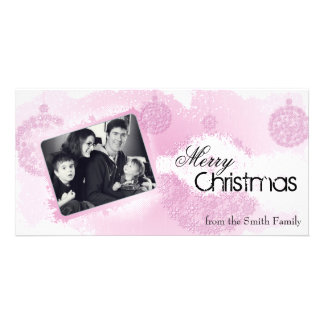 Snowflake Bulbs Merry Christmas Holiday Photo Card