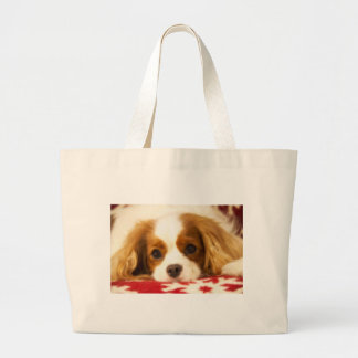 Snowflake Cavalier King Charles Spaniel Large Tote Bag