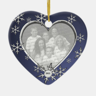 Snowflake Charm Frame Double-Sided Heart Ceramic Christmas Ornament