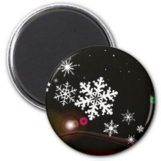 Snowflake Christmas Background 6 Cm Round Magnet