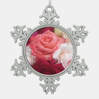 Snowflake Christmas decoration covered with roses