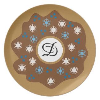 Snowflake Christmas Donut Blue Sprinkles Iced Plate